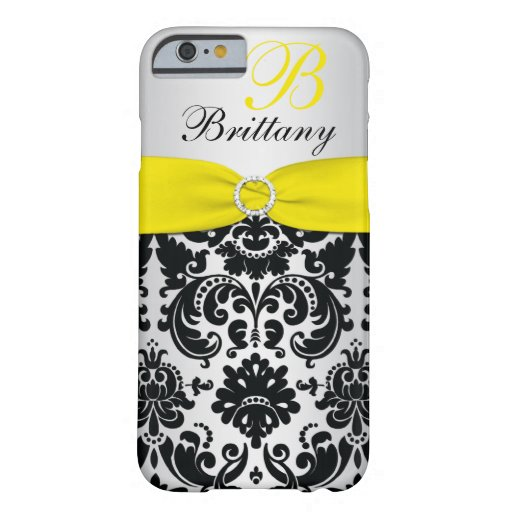 PRINTED RIBBON Black Yellow Silver Damask iPhone 6 iPhone 6 Case