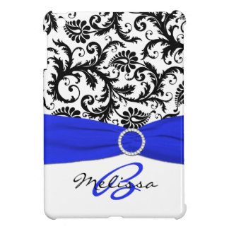 PRINTED RIBBON Blue Black Damask iPad Mini Case