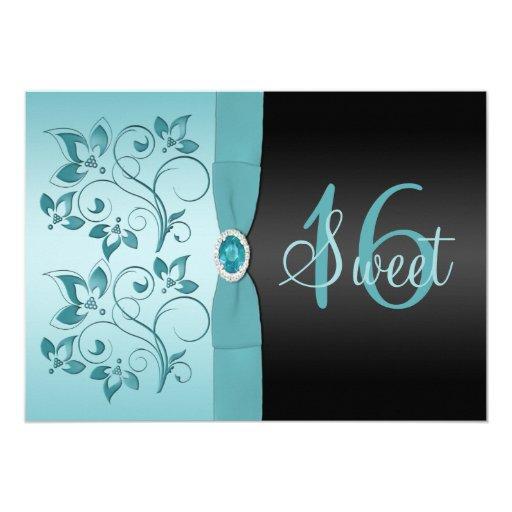 PRINTED RIBBON Blue, Black Sweet 16 invite