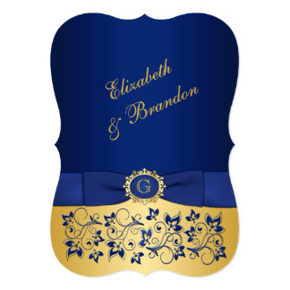 PRINTED RIBBON Blue, Gold Floral Wedding Invite 2