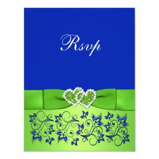 PRINTED RIBBON Blue Green Floral Hearts Reply Card Custom Announcements