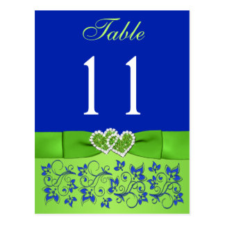 PRINTED RIBBON Blue, Green Table Number Postcard
