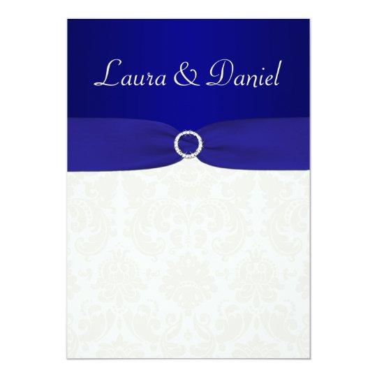 PRINTED RIBBON Blue, Ivory Damask Wedding Invite