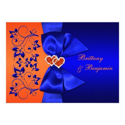 PRINTED RIBBON Blue, Orange Floral Wedding Invite | Zazzle