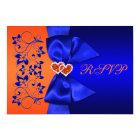 PRINTED RIBBON Blue, Orange Floral Wedding RSVP Card