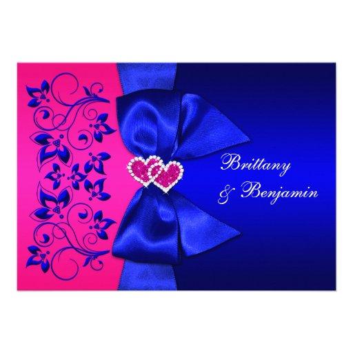 Personalized royal blue wedding invitations custominvitations4u printed ribbon blue pink floral wedding invite stopboris Image collections