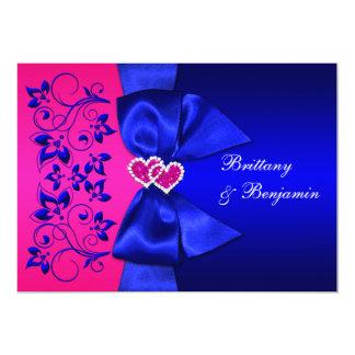 PRINTED RIBBON Blue, Pink Floral Wedding Invite