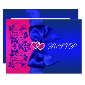 PRINTED RIBBON Blue, Pink Floral Wedding RSVP Card