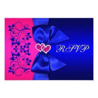 PRINTED RIBBON Blue, Pink Floral Wedding RSVP Custom Invite