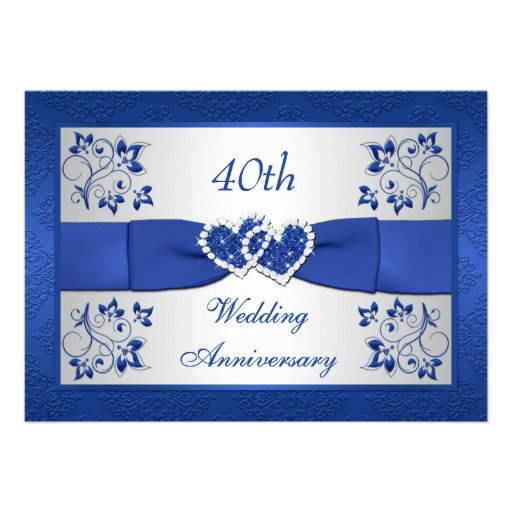 PRINTED RIBBON Blue Silver Floral 40th Anniversary Invites