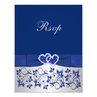 PRINTED RIBBON Blue, Silver Floral Reply Card Custom Invites