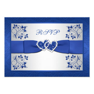 PRINTED RIBBON Blue Silver Floral Reply Card