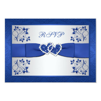PRINTED RIBBON Blue, Silver Floral Reply Card Personalized Invitations