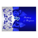 PRINTED RIBBON Blue, Silver Floral Wedding Invite