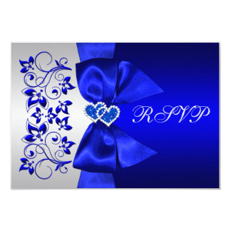 PRINTED RIBBON Blue, Silver Floral Wedding RSVP Card