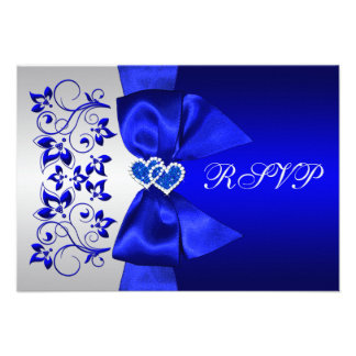 PRINTED RIBBON Blue, Silver Floral Wedding RSVP Custom Invites