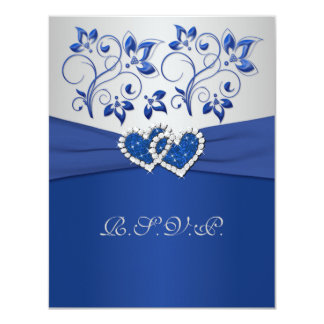 """PRINTED RIBBON Blue Silver Joined Hearts RSVP Card 4.25"""" X 5.5"""" Invitation Card"""