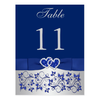 PRINTED RIBBON Blue, Silver Table Number Postcard
