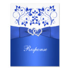 PRINTED RIBBON Blue, White Floral, Hearts RSVP Card