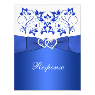 PRINTED RIBBON Blue, White Floral, Hearts RSVP Invitation