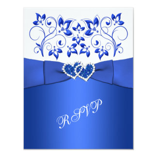PRINTED RIBBON Blue, White Floral, Hearts RSVP Personalized Invite