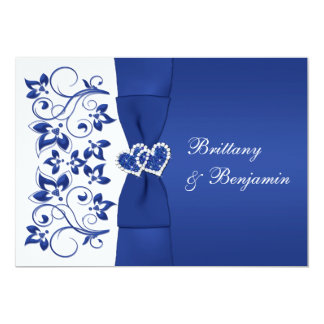 PRINTED RIBBON Blue, White Floral Wedding Invite