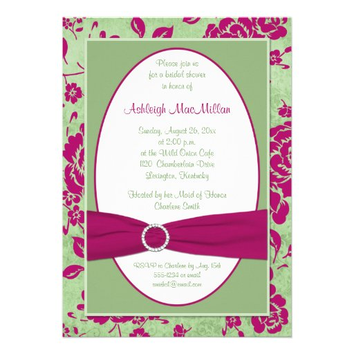 green burgundy and white floral bridal shower invitation has a printed ...