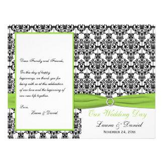 PRINTED RIBBON Chartreuse, Black Wedding Program