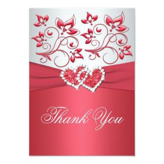 PRINTED RIBBON Coral Pink, Gray Thank You Card