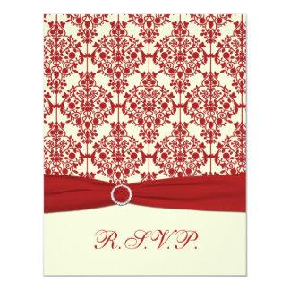 PRINTED RIBBON Cream, Red Damask Reply Card