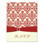 PRINTED RIBBON Cream, Red Damask Reply Card Personalized Invites