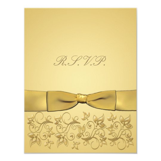 PRINTED RIBBON Gold RSVP Card