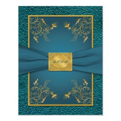 PRINTED RIBBON Gold, Teal RSVP Card