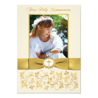 PRINTED RIBBON Holy Communion Photo Thank You 5x7 Paper Invitation Card