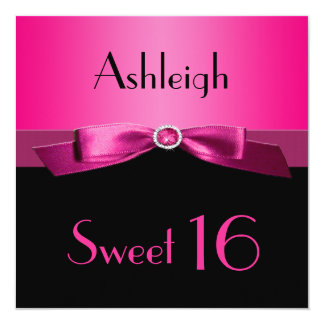 PRINTED RIBBON Hot Pink, Black Sweet 16 Invite