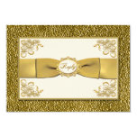 PRINTED RIBBON Ivory. Gold Floral Reply Card