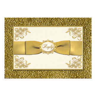 PRINTED RIBBON Ivory Gold Floral Reply Card