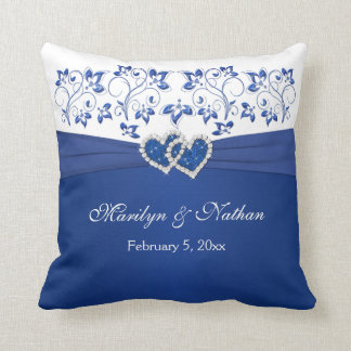 PRINTED RIBBON/JEWELS Blue, White Wedding Pillow