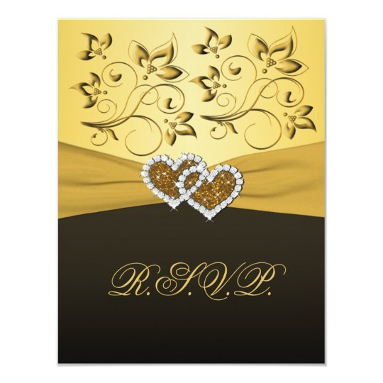 PRINTED RIBBON Joined Hearts RSVP Card