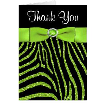 PRINTED RIBBON Lime, Black Zebra Thank You Card