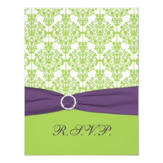 PRINTED RIBBON Lime, Purple Damask Reply Card