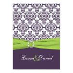 "PRINTED RIBBON Lime, Purple Damask Wedding Invite 5"" X 7"" Invitation Card"