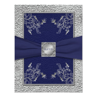 PRINTED RIBBON Navy and Pewter RSVP Card