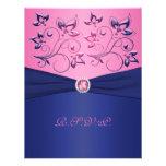 PRINTED RIBBON Navy, Pink Floral RSVP Card