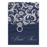 PRINTED RIBBON Navy, Silver Bridal Shower Invite