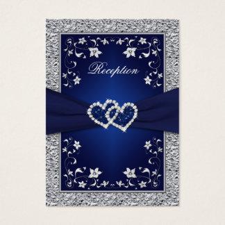 PRINTED RIBBON Navy, Silver Floral Enclosure Card