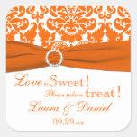 PRINTED RIBBON Orange, White Damask Candy Buffet Square Sticker