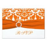 "PRINTED RIBBON Orange, White Damask RSVP Card 3.5"" X 5"" Invitation Card"