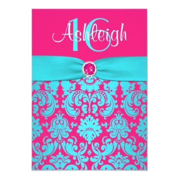 "PRINTED RIBBON Pink, Aqua 16th Birthday Invite 5"" X 7"" Invitation Card"