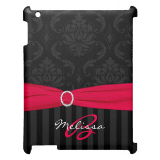 PRINTED RIBBON Pink Black Damask iPad 2/3/4 Case Case For The iPad